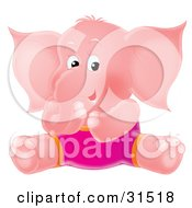 Clipart Illustration Of A Pink Elephant In Pink Shorts Sitting On The Ground And Giggling On A White Background by Alex Bannykh