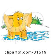 Clipart Illustration Of A Cute Elephant Standing In Shallow Water On Shore On A White Background by Alex Bannykh