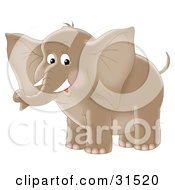 Clipart Illustration Of A Cute Brown Elephant With Tusks On A White Background by Alex Bannykh