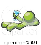 Clipart Illustration Of An Olive Green Man Kicking Back And Relaxing With A Martini Beverage by Leo Blanchette