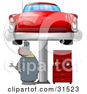 Clipart Illustration Of A Black Male Mechanic Holding A Wrench And Working On A Red Classic Car Up On A Lift In A Garage by Dennis Cox