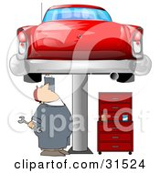 Clipart Illustration Of A White Male Mechanic Holding A Wrench And Working On A Red Classic Car Up On A Lift In A Garage