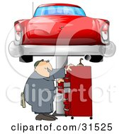 Clipart Illustration Of A White Male Mechanic Looking For Tools In A Red Tool Box Under A Red Classic Car Up On A Lift In A Garage by Dennis Cox