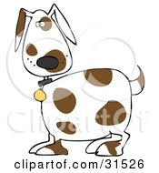 Clipart Illustration Of A Cute White Dog With Brown Spots Wearing A Collar And Looking At The Viewers