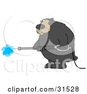 Clipart Illustration Of A Big Bear Operating A Power Washer