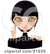 Clipart Illustration Of A Pretty Hazel Eyed Black Haired Woman With A Butterfly Clip In Her Hair Touching Her Cheek And Facing Front