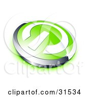 Clipart Illustration Of A White Power Symbol On A Green Electronics Button Bordered By Chrome With A Green Shadow