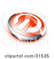 Clipart Illustration Of A White Power Symbol On A Red Electronics Button Bordered By Chrome With A Red Shadow