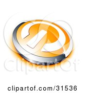 Clipart Illustration Of A White Power Symbol On An Orange Electronics Button Bordered By Chrome With An Orange Shadow