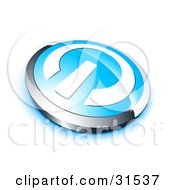 Clipart Illustration Of A White Power Symbol On A Blue Electronics Button Bordered By Chrome With A Blue Shadow