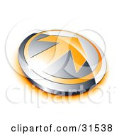 Clipart Illustration Of An Orange Arrow On A Chrome Button With An Orange Shadow