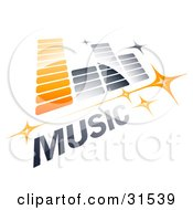 Clipart Illustration Of An Orange And Gray Music Equalizer With Stars And MUSIC Text
