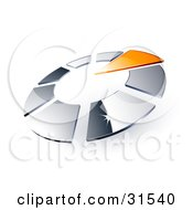 Clipart Illustration Of A Circle Of Chrome Squares And One Orange Triangle Pointing Inwards Resembling A Timer by beboy