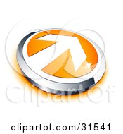 Clipart Illustration Of A White Arrow On An Orange Button With A Chrome Border And Orange Shadow