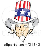 Senior White Haired Man Uncle Sam Facing Front And Wearing A Patriotic Hat