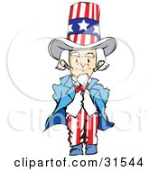 Clipart Illustration Of A Patriotic Senior Man Uncle Sam Dressed In The Stars And Stripes Standing With His Hands Behind His Back