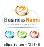 Clipart Illustration Of A Pre Made Logo Of A Orange And Chrome Power Button Blue Green And Red Buttons Also Included With Space For A Business Name And Company Slogan Below