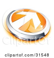 Clipart Illustration Of A Pre Made Logo Of A White Arrow On An Orange And Chrome Button by beboy