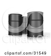 Three 3d Black Barrels Of Oil