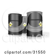 Clipart Illustration Of 3d Black Barrels Of Oil With Yellow Labels