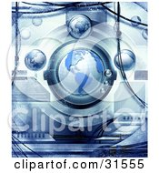 Clipart Illustration Of Planet Earth In A Futuristic Science Machine With Blue Grunge Texture