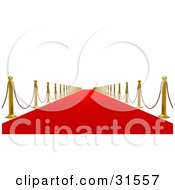 Clipart Illustration Of A Golden Posts And Red Ropes Along A Straight Red Carpeted Path Leading Into The Future Symbolizing Success And Fame by Tonis Pan