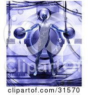 Clipart Illustration Of A Strong Male Body Attached To A Futuristic Machine Symbolizing Medical Research Health And Well Being