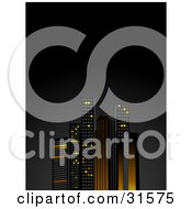 Clipart Illustration Of Tall City Skyscrapers Illuminated In Orange And Yellow Lights Against A Night Sky by elaineitalia