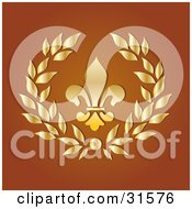 Clipart Illustration Of A Golden Victorian Wreath Design Element With Leaves And A Flourish