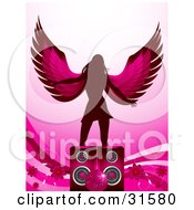 Clipart Illustration Of A Winged Silhouetted Woman Dancing Behind Speakers With Flowers Waves And A Pink Disco Ball by elaineitalia
