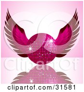 Clipart Illustration Of A Sparkling Pink Winged Disco Ball On A Gradient Pink Background A Reflective Surface