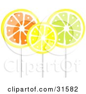 Clipart Illustration Of Three Orange Lemon And Lime Flavored Loli Pops On Sticks
