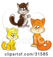 Clipart Illustration Of Brown Yellow And Orange Kitty Cats Looking At The Viewer