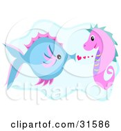 Clipart Illustration Of A Blue Fish In Love With A Pink Sea Horse by bpearth