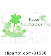 Clipart Illustration Of A Happy St Patricks Day Greeting With A Patch Of Clovers On A White Background