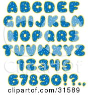 Clipart Illustration Of A Font Set Of Blue Starry Patterned Letters Numbers And Punctuation