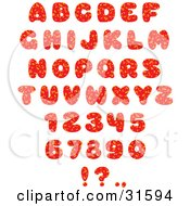 Clipart Illustration Of A Red Font Set Of Numbers Letters And Punctuation Marks With Orange Spots by Alex Bannykh