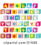 Clipart Illustration Of A Font Set Of Colorful Letters Numbers And Punctuation On Cubes by Alex Bannykh