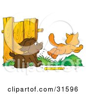 Clipart Illustration Of A Dog Distracted From Fetching A Stick Chasing An Orange Cat by Alex Bannykh