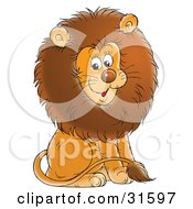 Clipart Illustration Of A Young Male Lion With A Big Brown Mane Sitting And Smiling