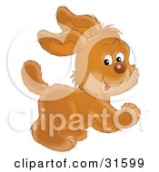 Clipart Illustration Of A Cute And Energetic Puppy Dog Looking Back While Running by Alex Bannykh