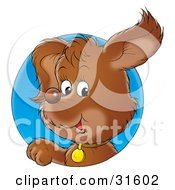 Clipart Illustration Of A Cute Brown Puppy Dog Wearing A Collar Looking Through A Blue Circle