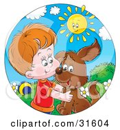 Clipart Illustration Of A Happy Sun Watching A Little Boy Hug His Dog by Alex Bannykh