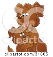 Clipart Illustration Of A Sweet Brown Puppy Cuddling With Its Mom Or Dad