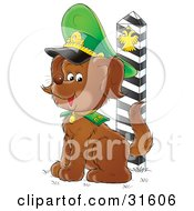 Clipart Illustration Of A Russian Army Puppy Guarding The Border
