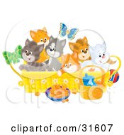 Clipart Illustration Of A Butterfly Over A Litter Of Colorful Kittens In A Basket With Food And A Ball On The Floor