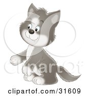 Clipart Illustration Of An Adorable Gray And White Tuxedo Cat Sitting Up On His Hind Legs