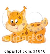 Clipart Illustration Of A Playful Spotted Lynx Kitten Crouching by Alex Bannykh