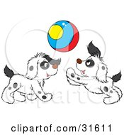 Clipart Illustration Of Two Spotted Puppies Playing With A Colorful Ball