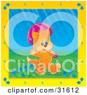Clipart Illustration Of A Cute Orange Kitten Waving Walking Under An Umbrella On A Rainy Spring Day
